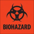 "2 x 2"" - ""Biohazard"" Fluorescent Red Labels"