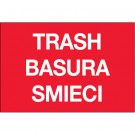"2 x 3"" Red Rectangle ""Trash/Basura/Smieci"""