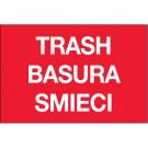 "2 x 3"" Red Rectangle ""Trash/Basura/Smieci"""