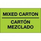"""3 x 5"""" - """"Mixed Carton - Carton Mezclado"""" (Fluorescent Green) Bilingual Labels"""