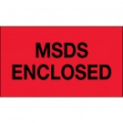 "3 x 5"" - ""MSDS Enclosed"" (Fluorescent Red) Labels"