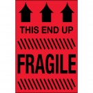 """2 x 3"""" - """"This End Up - Fragile"""" (Fluorescent Red) Labels"""
