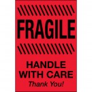 """2 x 3"""" - """"Fragile - Handle With Care"""" (Fluorescent Red) Labels"""