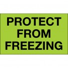 """3 x 5"""" - """"Protect From Freezing"""" (Fluorescent Green) Labels"""