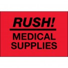 """2 x 3"""" - """"Rush - Medical Supplies"""" (Fluorescent Red) Labels"""