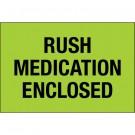 "2 x 3"" - ""Rush - Medication Enclosed"" (Fluorescent Green) Labels"