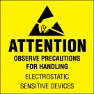"""2 x 2"""" - """"Attention - Observe Precautions"""" (Fluorescent Yellow) Labels"""