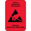 "2 x 3"" - ""Static Sensitive Contents"" (Fluorescent Red) Labels"