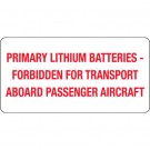 "2 x 4"" - ""Primary Lithium Batteries"" Labels"