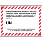 "4 3/8 x 3 1/4"" - ""Radioactive Material, Excepted Package"" Labels"