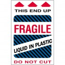 "4 x 6"" - ""Fragile - Liquid in Plastic"" Labels"
