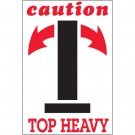 "4 x 6"" - ""Caution - Top Heavy"" Arrow Labels"