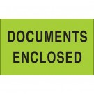 "3 x 5"" - ""Documents Enclosed"" (Fluorescent Green) Labels"