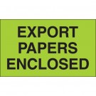 "3 x 5"" - ""Export Papers Enclosed"" (Fluorescent Green) Labels"