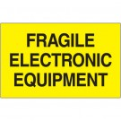 """3 x 5"""" - """"Fragile Electronic Equipment"""" (Fluorescent Yellow) Labels"""