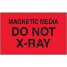 "3 x 5"" - ""Magnetic Media Do Not X-Ray"" (Fluorescent Red) Labels"