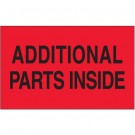 "3 x 5"" - ""Additional Parts Inside"" (Fluorescent Red) Labels"