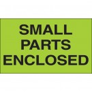 "3 x 5"" - ""Small Parts Enclosed"" (Fluorescent Green) Labels"