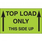 "3 x 5"" - ""Top Load Only - This Side Up"" (Fluorescent Green) Labels"