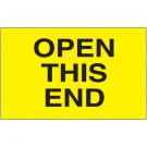 "3 x 5"" - ""Open This End"" (Fluorescent Yellow) Labels"