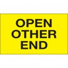 "3 x 5"" - ""Open Other End"" (Fluorescent Yellow) Labels"