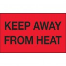 "3 x 5"" - ""Keep Away from Heat"" (Fluorescent Red) Labels"