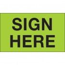 "3 x 5"" - ""Sign Here"" (Fluorescent Green) Labels"