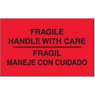 "3 x 5"" - ""Fragil - Maneje Con Cuidado"" (Fluorescent Red) Bilingual Labels"