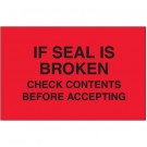 "3 x 5"" - ""Check Contents Before Accepting"" (Fluorescent Red) Labels"