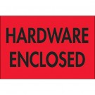"2 x 3"" - ""Hardware Enclosed"" (Fluorescent Red) Labels"