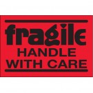 "2 x 3"" - ""Fragile - Handle With Care"" (Fluorescent Red) Labels"