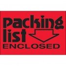 "2 x 3"" - ""Packing List Enclosed"" (Fluorescent Red) Labels"
