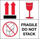 "4 x 4"" - ""Fragile - Do Not Stack"" Labels"