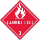 """4 x 4"""" - """"Flammable Liquids - 3"""" Labels"""
