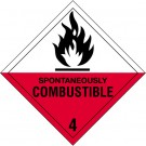 "4 x 4"" - ""Spontaneously Combustible - 4"" Labels"