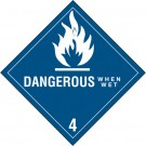 """4 x 4"""" - """"Dangerous When Wet - 4"""" Labels"""