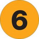 "3"" Circle - ""6"" (Fluorescent Orange) Number Labels"