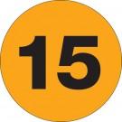 "3"" Circle - ""15"" (Fluorescent Orange) Number Labels"