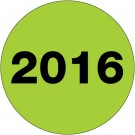 "2"" Circle - ""2016"" (Fluorescent Green) Year Labels"