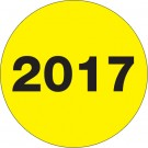 "2"" Circle - ""2017"" (Fluorescent Yellow) Year Labels"
