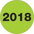 "2"" Circle - ""2018"" (Fluorescent Green) Year Labels"