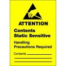 """1 3/4 x 2 1/2"""" - """"Contents Static Sensitive"""" Labels"""