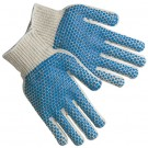 PVC Blue Dot Knit Gloves - Small