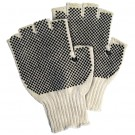 Fingerless PVC Dot Knit Gloves - Small