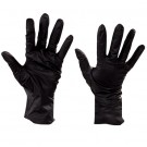 Nitrile Industrial Gloves Powder-Free Beaded Cuff Black - Small