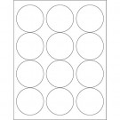 "2 1/2"" Glossy White Circle Laser Labels"