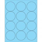 "2 1/2"" Fluorescent Pastel Blue Circle Laser Labels"