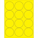 "2 1/2"" Fluorescent Yellow Circle Laser Labels"