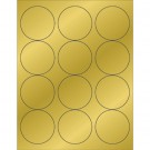 "2 1/2"" Gold Foil Circle Laser Labels"
