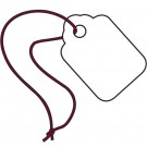 "3/8 x 13/16""  White Merchandise Tags - Pre-Strung Magenta String"